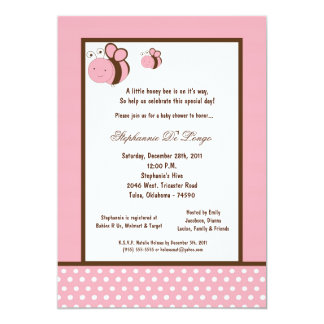 5x7 Light Pink Honey Bee Baby Shower Personalized Announcements
