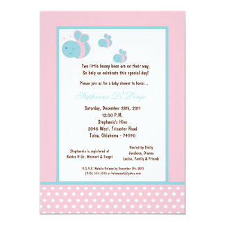 5x7 Light Pink Honey Bee Baby Shower Personalized Invites