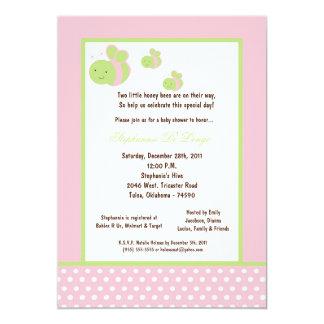 5x7 Light Pink Honey Bee Baby Shower Custom Invitation