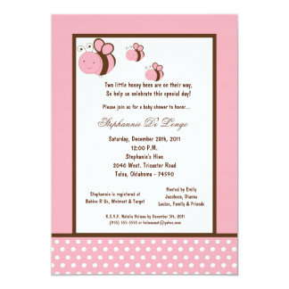 5x7 Light Pink Honey Bee Baby Shower Custom Announcements