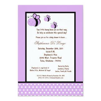 5x7 Light Purple Honey Bee Baby Shower Invitations