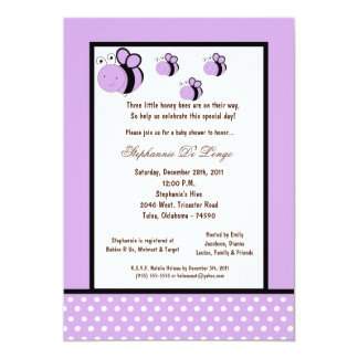 5x7 Light Purple Honey Bee Baby Shower Personalized Invites