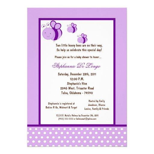 5x7 Light Purple Honey Bee Baby Shower Announcements