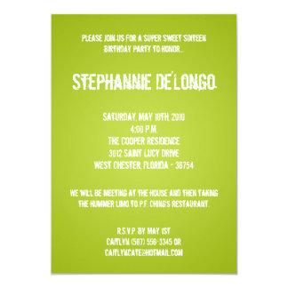 5x7 Lime Green DJ Turntable 16 Birthday Invitation