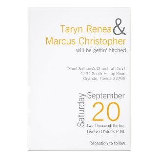 5x7 Modern Mustard Grey Chevron Wedding Invitation