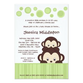 5x7 Neutra Baby Pop Monkey Baby Shower Invitation