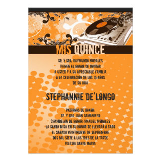 5x7 Orang DJ Spin Turntable Quinceanera Invitation