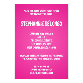 5x7 Pink DJ Spin Turntable 16 Birthday Invitation
