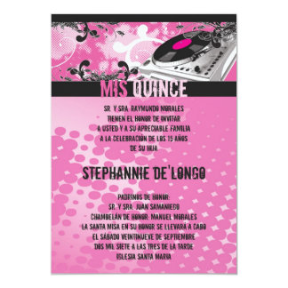 5x7 Pink DJ Spin Turntable Quinceanera Invitation