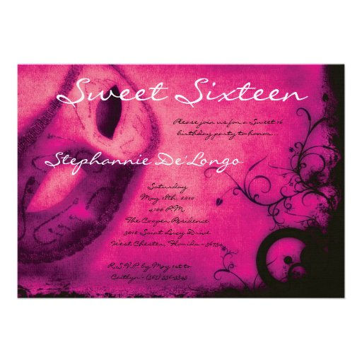 5x7 Pink Masquerade Sweet 16 Birthday Invitation