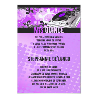 5x7 Purpl DJ Spin Turntable Quinceanera Invitation