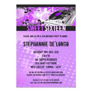 5x7 Purple DJ Turntable16th Birthday Invitation