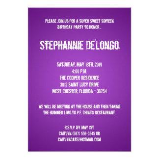 5x7 Purple DJ Turntable 16 Birthday Invitation