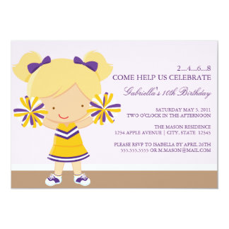 5x7 Purple/Gold Cheerleader Birthday Party Invite