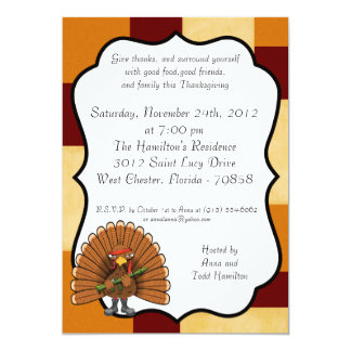 5x7 Rambo Turkey Thanksgiving Invitation