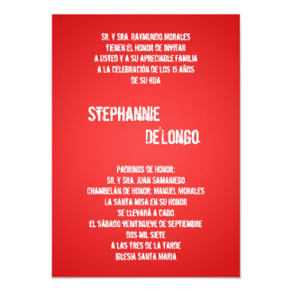 5x7 Red DJ Spin Turntable Quinceanera Invitation
