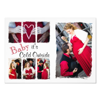 "5x7 Red & White Baby it's Cold Holiday Photo Card 5"" X 7"" Invitation Card"
