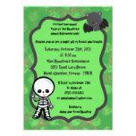 5x7 Spooky Kids Green Halloween Party Invitation