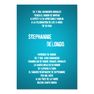 5x7 Teal DJ Spin Turntable Quinceanera Invitation