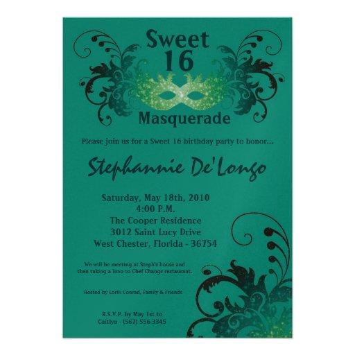 5x7 Teal Masquerade Sweet 16 Birthday Invitation