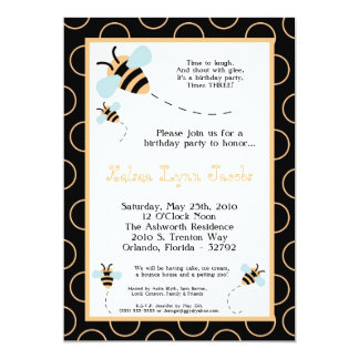5x7 TRIPLET Bumbl Honey Bee Birthday Invitation