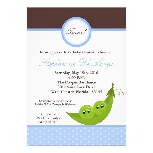 5x7 TWIN Boy Peas in Pod Baby Shower Invitation Personalized Invitation