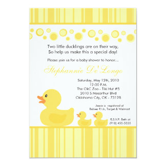"5x7 TWIN Yellow Rubber Duck Baby Shower Invitation 5"" X 7"" Invitation Card"