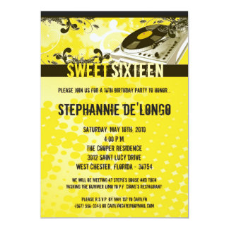 5x7 Yellow DJ Turntable16th Birthday Invitation