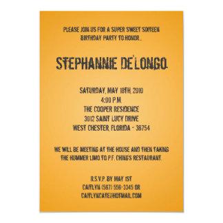 5x7 Yellow DJ Turntable 16 Birthday Invitation