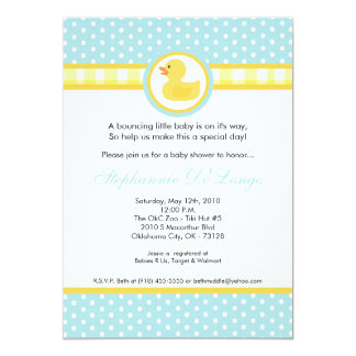 "5x7 Yellow Rubber Ducky Baby Shower Invitation 5"" X 7"" Invitation Card"
