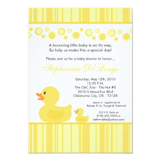 "5x7 Yellow Rubber Ducky Baby Shower Invitation 5"" X 7"" Invitation Card"