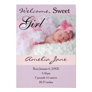 5x7Beautiful Purple Pink Newborn Girl Announcement