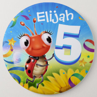 5yrs Custom birthday badge Little Ladybug range 6 Inch Round Button