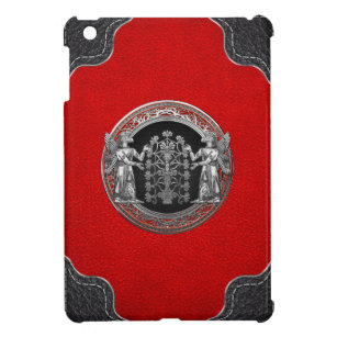 [600] Two Silver Ninurtas with Tree of Life Cover For The iPad Mini