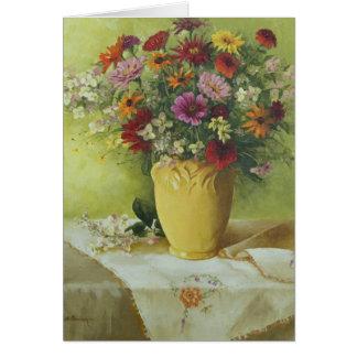 6021 Zinnias in Yellow Vase Sympathy Card
