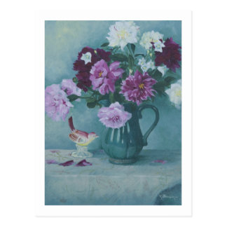 6027 Peonies in Pitcher & Procelain Bird Postcard