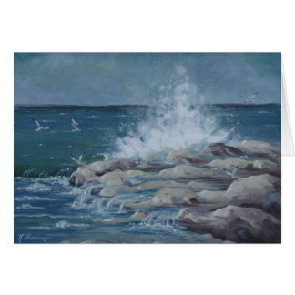 6037 Splashing Waves on Rocks Birthday Card