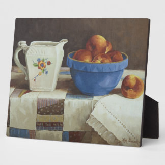 6044 Bowl of Peaches & Pitcher on Quilt Plaque