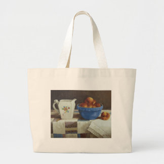 6044 Bowl of Peaches & Pitcher on Quilt Tote Bag