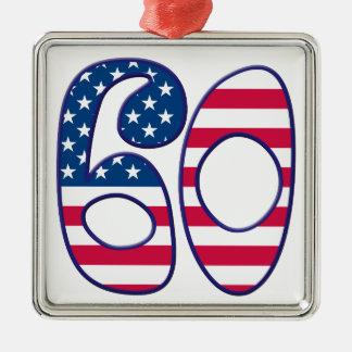60 Age USA Silver-Colored Square Ornament