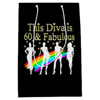 60 AND FABULOUS DAZZLING DIVA DESIGN MEDIUM GIFT BAG