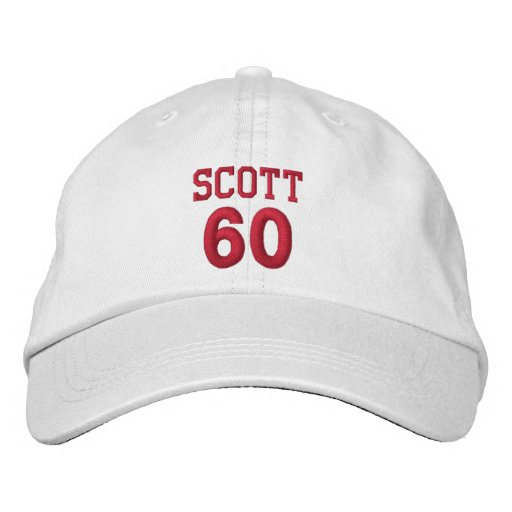 60 Birthday Custom Name Red Embroidery V13 Embroidered Hat