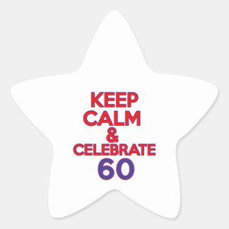 60 birthday design star sticker