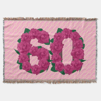 60 cute pink rose flowers 60th birthday blanket