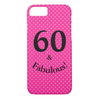 60 & Fabulous Birthday Bright Pink Polka Dots Case-Mate iPhone Case