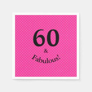 60 & Fabulous Birthday Bright Pink Polka Dots Disposable Napkin