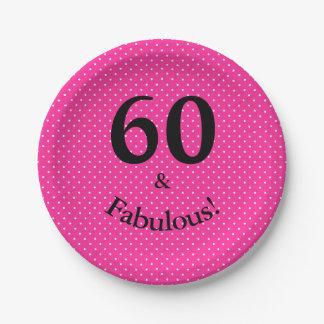 60 & Fabulous Birthday Bright Pink Polka Dots Paper Plate