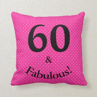 60 & Fabulous Birthday Bright Pink Polka Dots Throw Pillow
