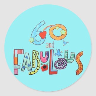60 & Fabulous Colorful Birthday Lettering Balloons Round Sticker