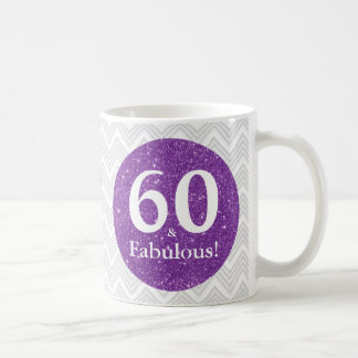 60 & Fabulous! Purple Glitter Sixtieth Birthday Coffee Mug